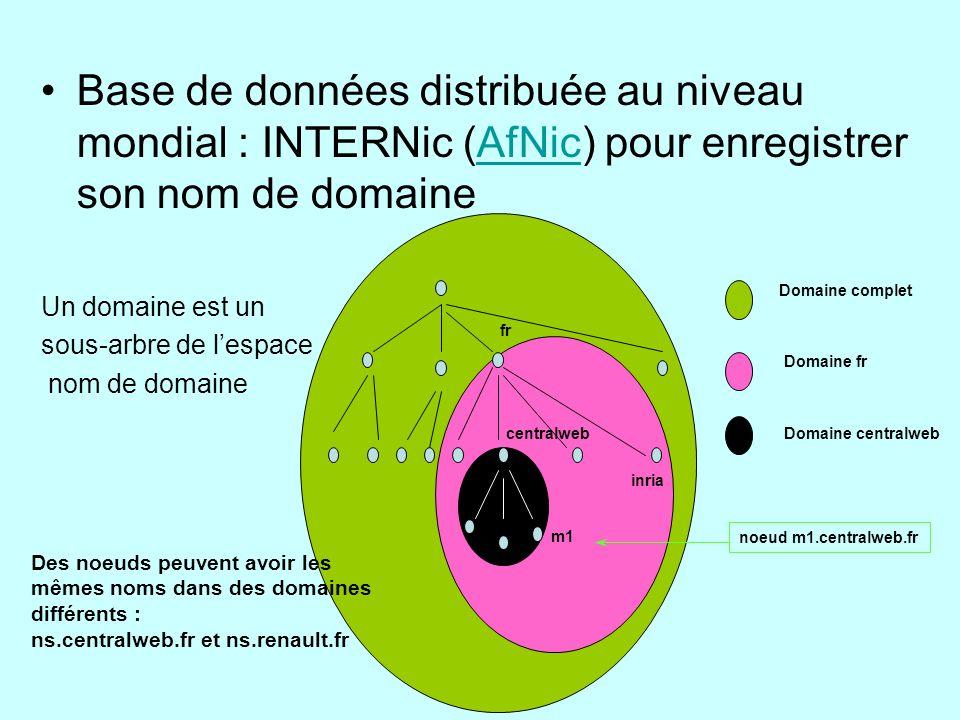 Base de données distribuée au niveau mondial : INTERNic (AfNic) pour enregistrer son nom de domaineAfNic fr inria centralweb m1 Domaine complet Domain