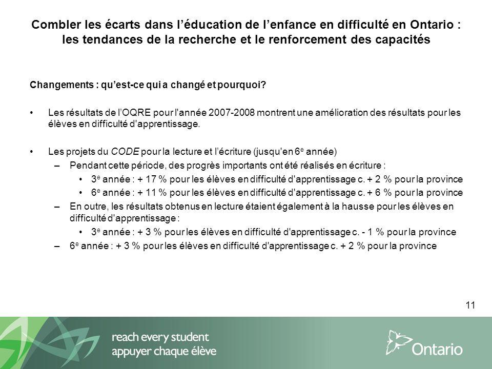11 Combler les écarts dans léducation de lenfance en difficulté en Ontario : les tendances de la recherche et le renforcement des capacités Changements : quest-ce qui a changé et pourquoi.