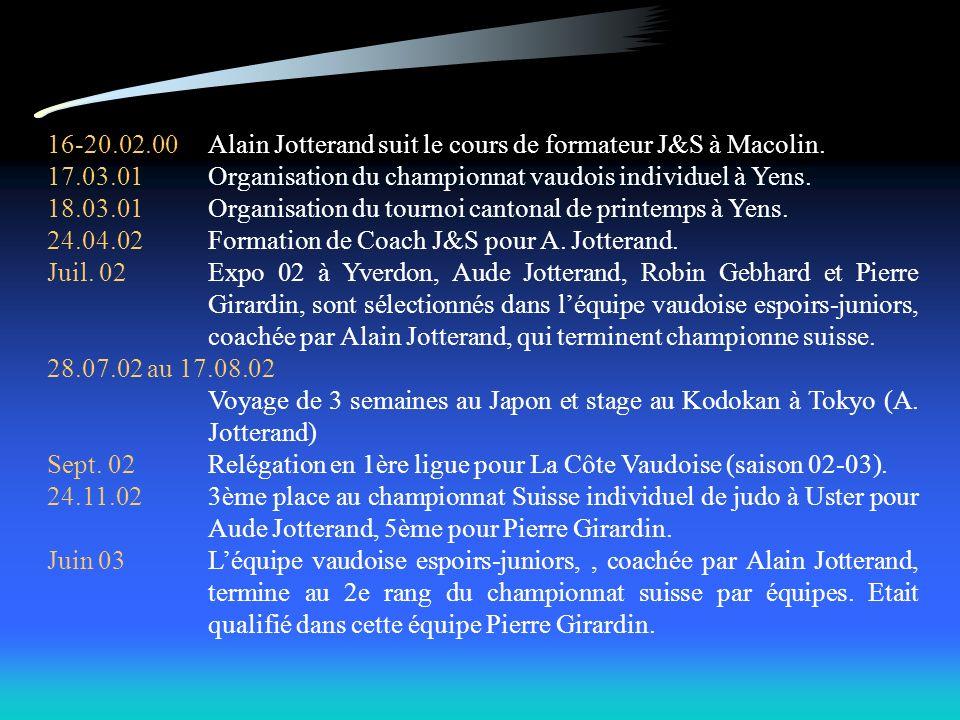 16-20.02.00Alain Jotterand suit le cours de formateur J&S à Macolin. 17.03.01Organisation du championnat vaudois individuel à Yens. 18.03.01Organisati