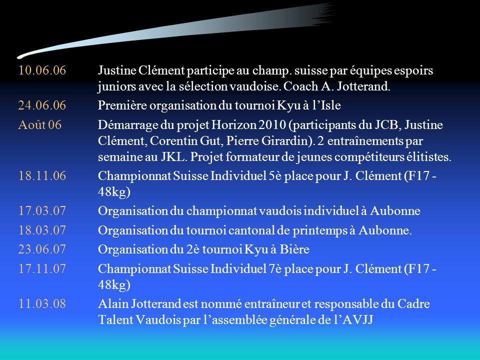 10.06.06Justine Clément participe au champ. suisse par équipes espoirs juniors avec la sélection vaudoise. Coach A. Jotterand. 24.06.06Première organi