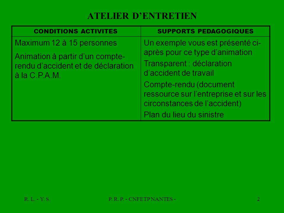R. L. - Y. S.P. R. P. - CNFETP NANTES -2 ATELIER DENTRETIEN CONDITIONS ACTIVITESSUPPORTS PEDAGOGIQUES Maximum 12 à 15 personnes Animation à partir dun