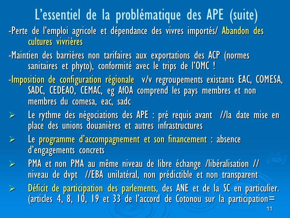 11 Lessentiel de la problématique des APE (suite) -Perte de lemploi agricole et dépendance des vivres importés/ Abandon des cultures vivrières -Maintien des barrières non tarifaires aux exportations des ACP (normes sanitaires et phyto), conformité avec le trips de lOMC .