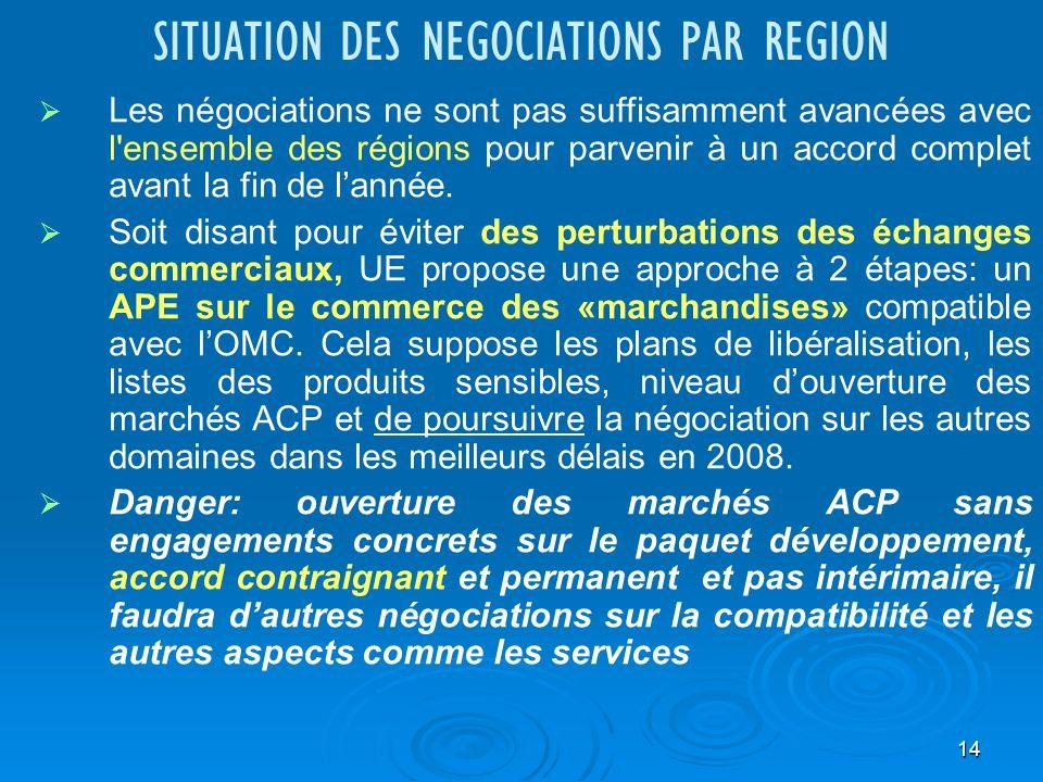 14 SITUATION DES NEGOCIATIONS PAR REGION Les négociations ne sont pas suffisamment avancées avec l ensemble des régions pour parvenir à un accord complet avant la fin de lannée.