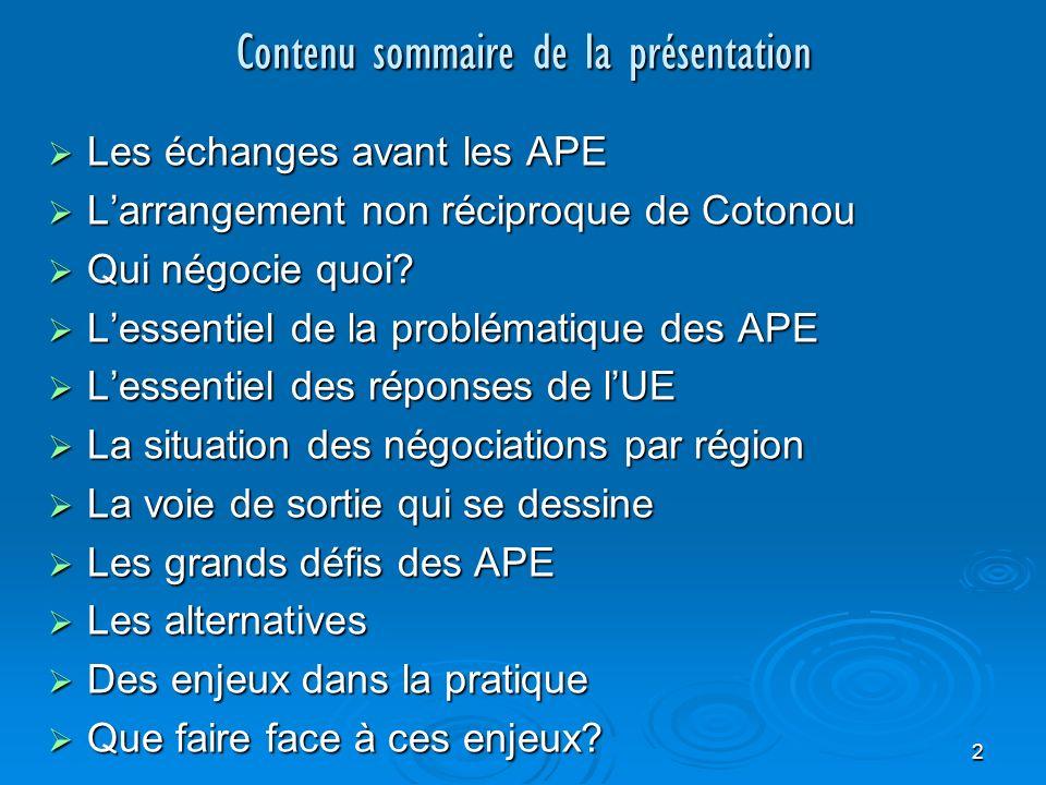 13 Les réponses de lUE … Sur lintégration régionale -Ape va entraver lintégration régionale si un pays ne peut appartenir à +ieurs unions douanières, cette situation problématique existe avec ou sans APE.
