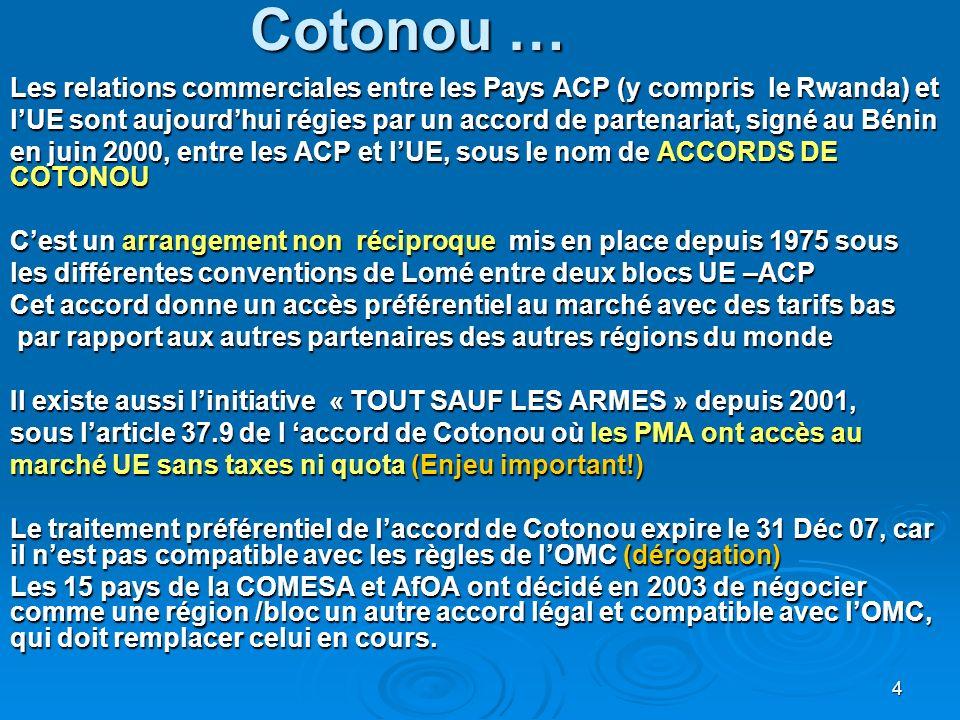4 Cotonou … Les relations commerciales entre les Pays ACP (y compris le Rwanda) et lUE sont aujourdhui régies par un accord de partenariat, signé au Bénin en juin 2000, entre les ACP et lUE, sous le nom de ACCORDS DE COTONOU Cest un arrangement non réciproque mis en place depuis 1975 sous les différentes conventions de Lomé entre deux blocs UE –ACP Cet accord donne un accès préférentiel au marché avec des tarifs bas par rapport aux autres partenaires des autres régions du monde par rapport aux autres partenaires des autres régions du monde Il existe aussi linitiative « TOUT SAUF LES ARMES » depuis 2001, sous larticle 37.9 de l accord de Cotonou où les PMA ont accès au marché UE sans taxes ni quota (Enjeu important!) Le traitement préférentiel de laccord de Cotonou expire le 31 Déc 07, car il nest pas compatible avec les règles de lOMC (dérogation) Les 15 pays de la COMESA et AfOA ont décidé en 2003 de négocier comme une région /bloc un autre accord légal et compatible avec lOMC, qui doit remplacer celui en cours.
