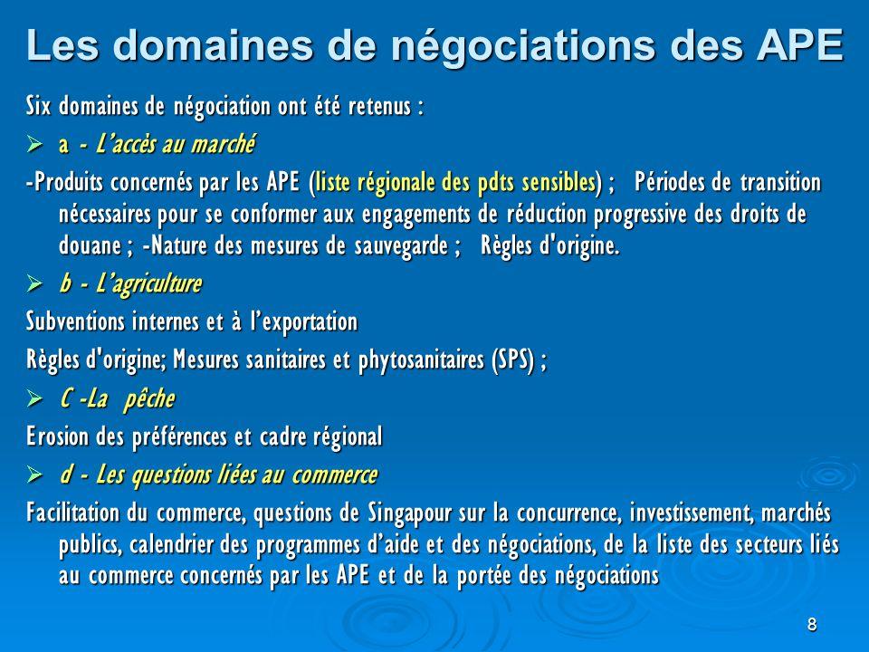 9 Domaines de negociation (suite) e - Lappui au développement dans le cadre des APE e - Lappui au développement dans le cadre des APE Matrice de dvpt et Ressources financières mobilisables ou à mobiliser, les objectifs des APE en matière de développement notamment industriel, daide au développement, de renforcement de capacité des ACP et dappui aux processus dintégration régionale.