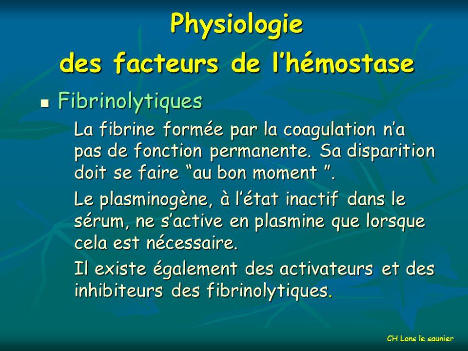 Inhibiteurs de coagulation CH Lons le saunier *Tissular Factor Pathway Inhibitor