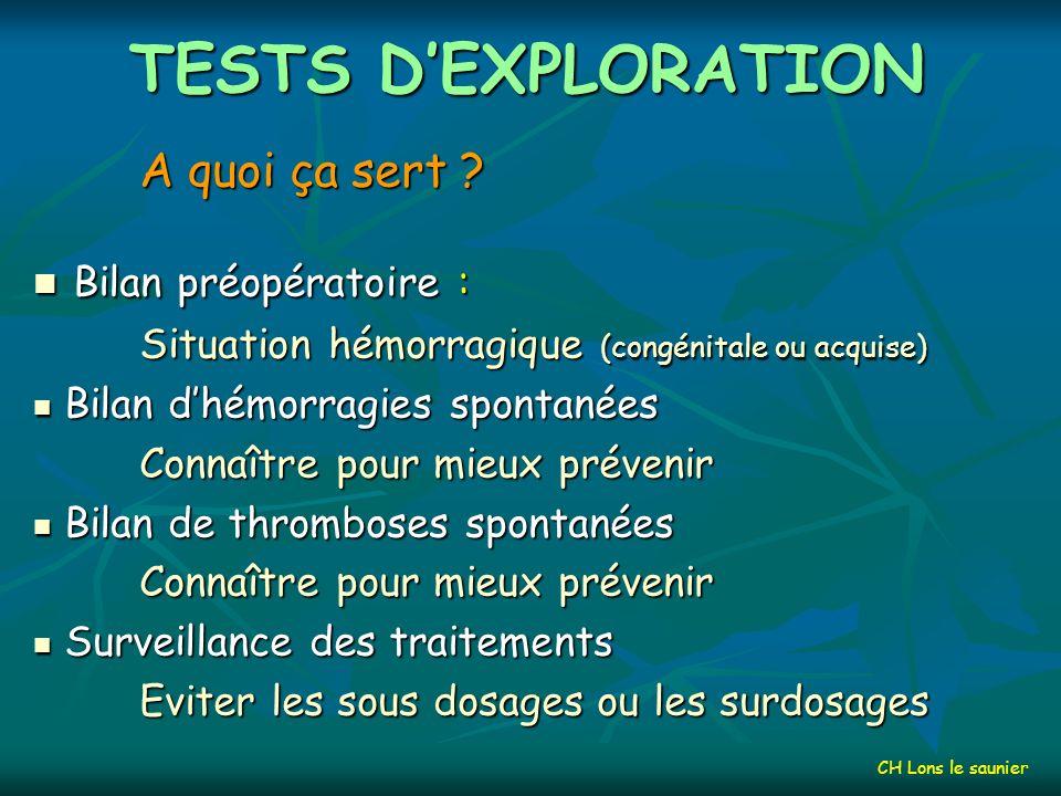 OUTILS THERAPEUTIQUES Les fibrinolytiques : Les fibrinolytiques : rt-PA (ACTILYSE) rt-PA (ACTILYSE) Les anti-fibrinolytiques : Aprotinine, Acide tranexamique Les anti-fibrinolytiques : Aprotinine, Acide tranexamique Les facteurs ou inhibiteurs de la coagulation Plasmatique (LFB) ou recombinants Les facteurs ou inhibiteurs de la coagulation Plasmatique (LFB) ou recombinants Le plasma frais congelé, les concentrés plaquettaires (CPA, MCPS) Le plasma frais congelé, les concentrés plaquettaires (CPA, MCPS) DDAVP ou desmopressine (MINIRIN),...