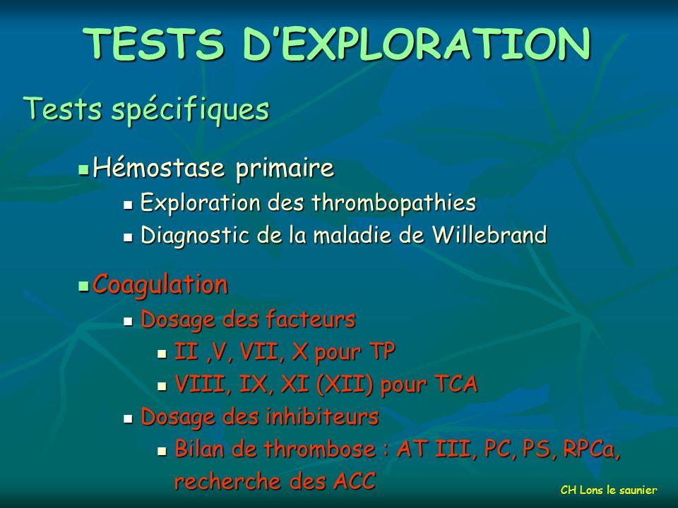 TESTS DEXPLORATION Tests globaux Hémostase primaire Hémostase primaire Plaquettes Plaquettes Temps de saignement Temps de saignement Coagulation Coagulation TCA, TP et INR TCA, TP et INR Fibrinogène Fibrinogène Fibrinolyse Fibrinolyse Dosage des PDF Dosage des PDF Dosage des D-Dimères Dosage des D-Dimères CH Lons le saunier