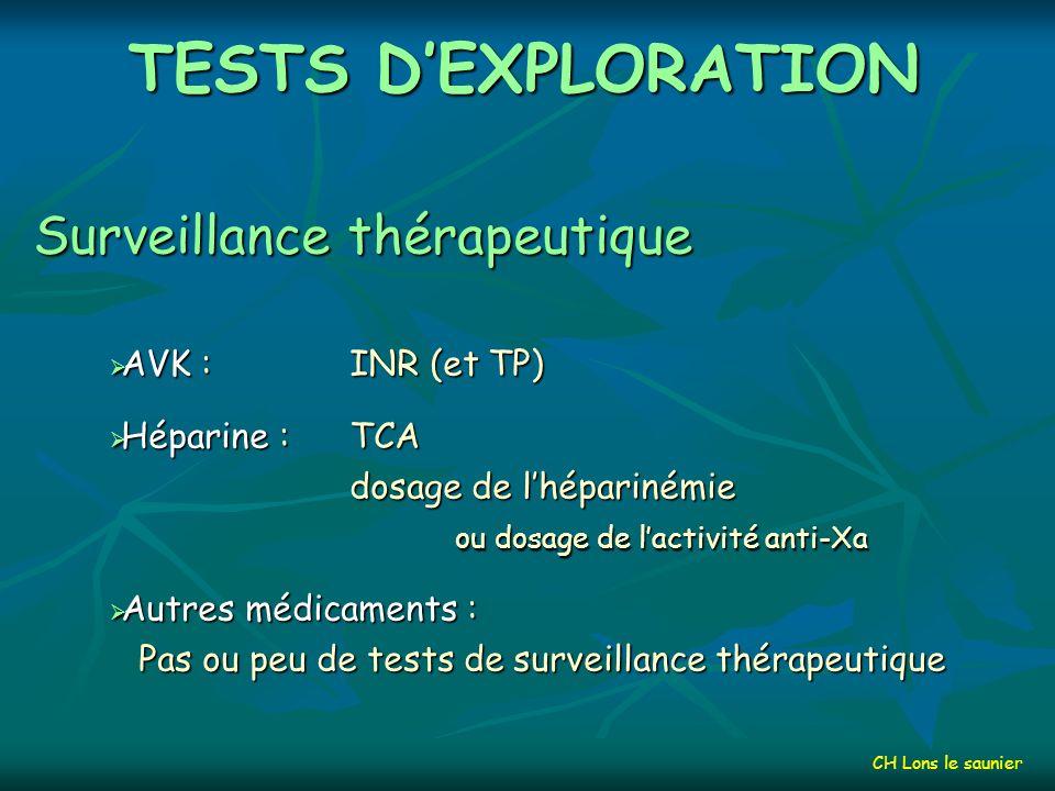 TESTS DEXPLORATION Tests spécifiques Fibrinolyse Dosage des facteurs (Plasminogène, t-PA,…) Tests plus spécifiques CIVD Dosage des complexes solubles CINETIQUE des facteurs, inhibiteurs et plaquettes CH Lons le saunier