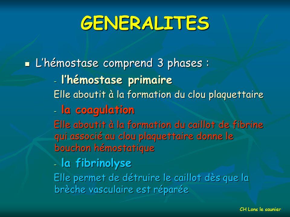GENERALITES Hémorragies Thromboses Rupture des vaisseaux Formation de caillots