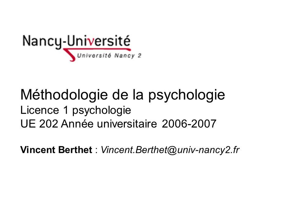 Plan 1.Introduction 1.1 Psychologie, science et méthode 1.2 Une vue densemble des méthodes en psychologie 2.