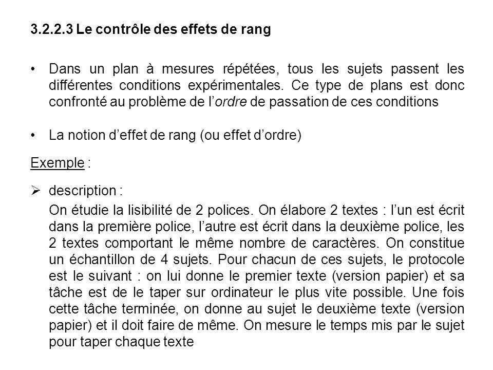 3.2.2.3 Le contrôle des effets de rang Dans un plan à mesures répétées, tous les sujets passent les différentes conditions expérimentales. Ce type de