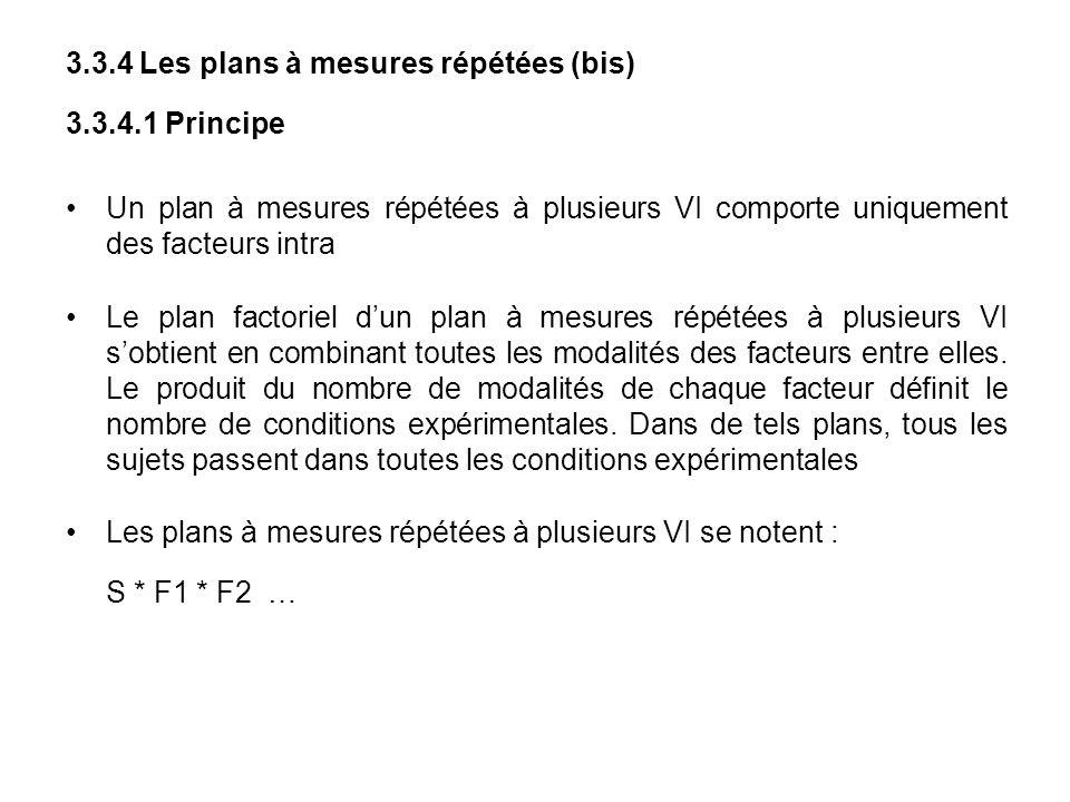 3.3.4 Les plans à mesures répétées (bis) 3.3.4.1 Principe Un plan à mesures répétées à plusieurs VI comporte uniquement des facteurs intra Le plan fac
