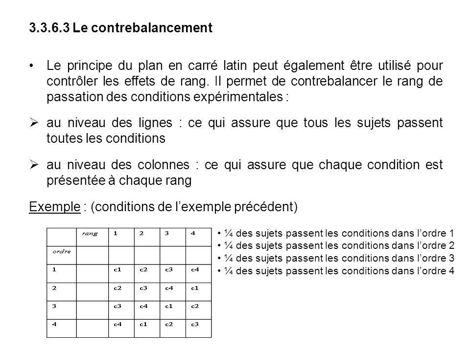 3.3.6.3 Le contrebalancement Le principe du plan en carré latin peut également être utilisé pour contrôler les effets de rang. Il permet de contrebala