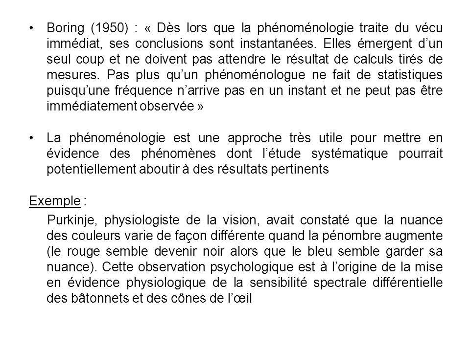 Boring (1950) : « Dès lors que la phénoménologie traite du vécu immédiat, ses conclusions sont instantanées. Elles émergent dun seul coup et ne doiven