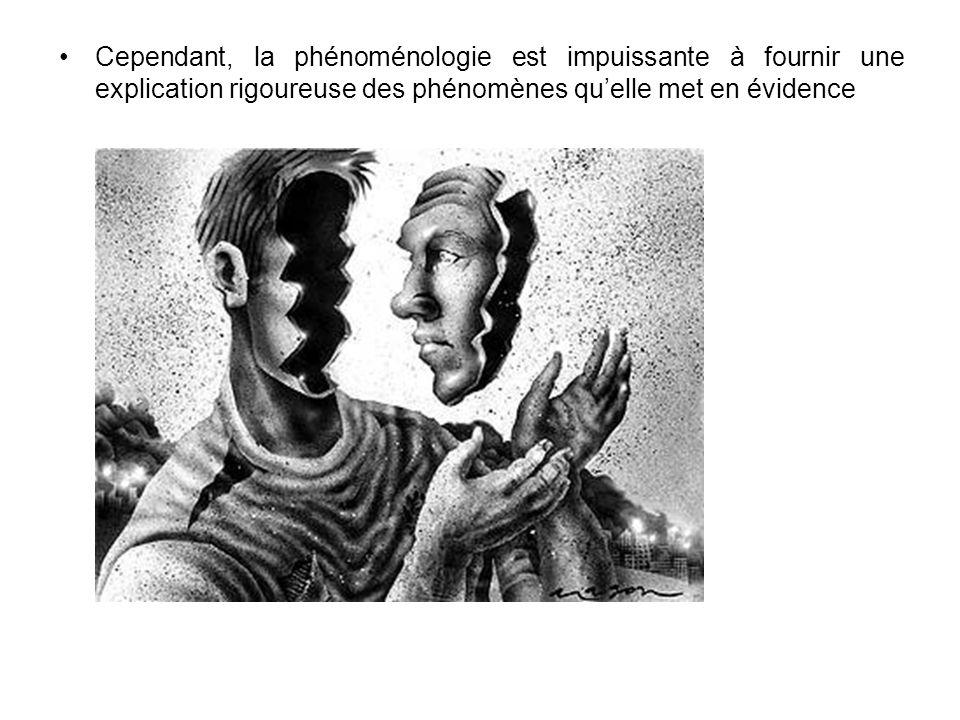 Cependant, la phénoménologie est impuissante à fournir une explication rigoureuse des phénomènes quelle met en évidence