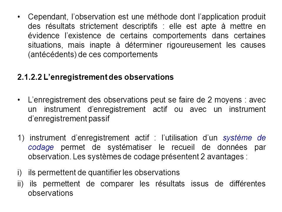 Cependant, lobservation est une méthode dont lapplication produit des résultats strictement descriptifs : elle est apte à mettre en évidence lexistenc