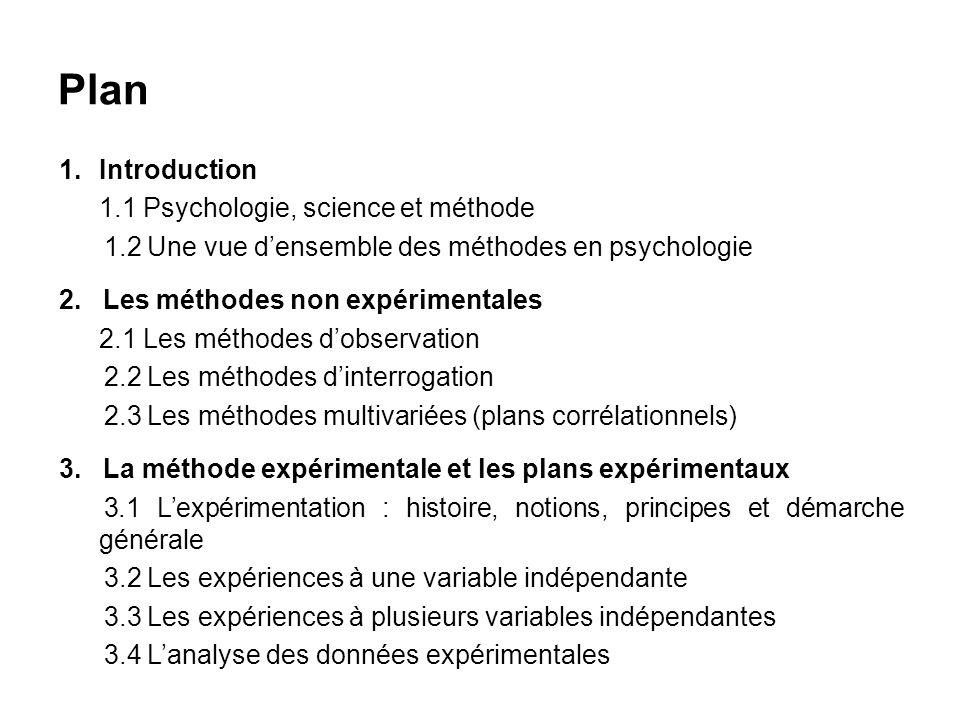 Plan 1.Introduction 1.1 Psychologie, science et méthode 1.2 Une vue densemble des méthodes en psychologie 2. Les méthodes non expérimentales 2.1 Les m