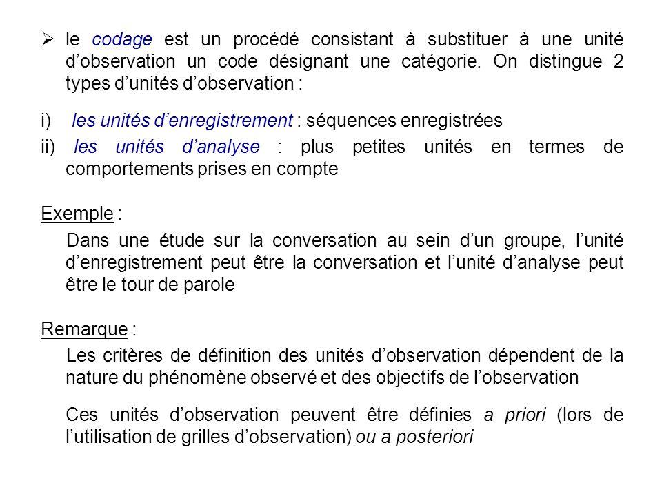 le codage est un procédé consistant à substituer à une unité dobservation un code désignant une catégorie. On distingue 2 types dunités dobservation :