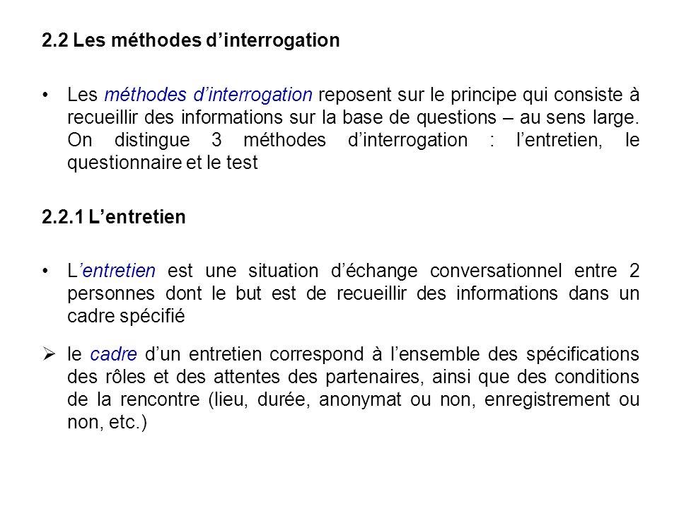 2.2 Les méthodes dinterrogation Les méthodes dinterrogation reposent sur le principe qui consiste à recueillir des informations sur la base de questio