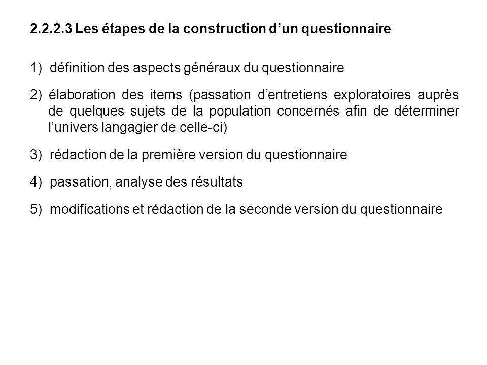 2.2.2.3 Les étapes de la construction dun questionnaire 1) définition des aspects généraux du questionnaire 2) élaboration des items (passation dentre