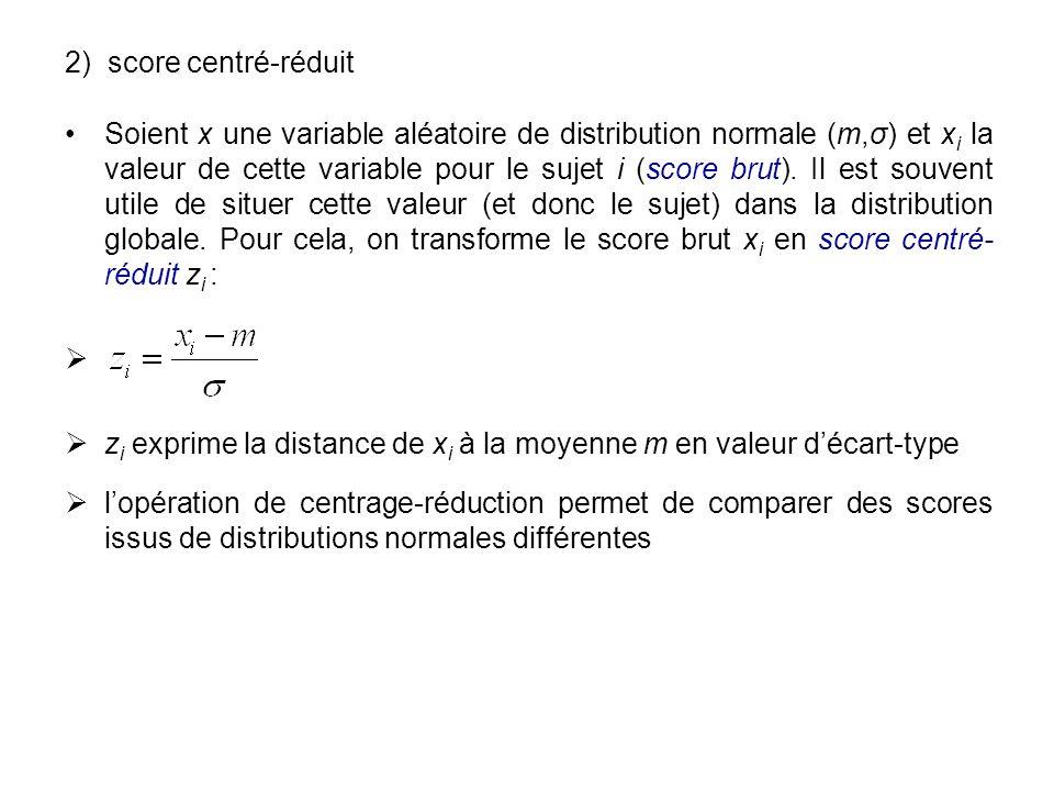 2) score centré-réduit Soient x une variable aléatoire de distribution normale (m,σ) et x i la valeur de cette variable pour le sujet i (score brut).