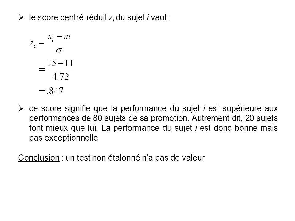 le score centré-réduit z i du sujet i vaut : ce score signifie que la performance du sujet i est supérieure aux performances de 80 sujets de sa promot