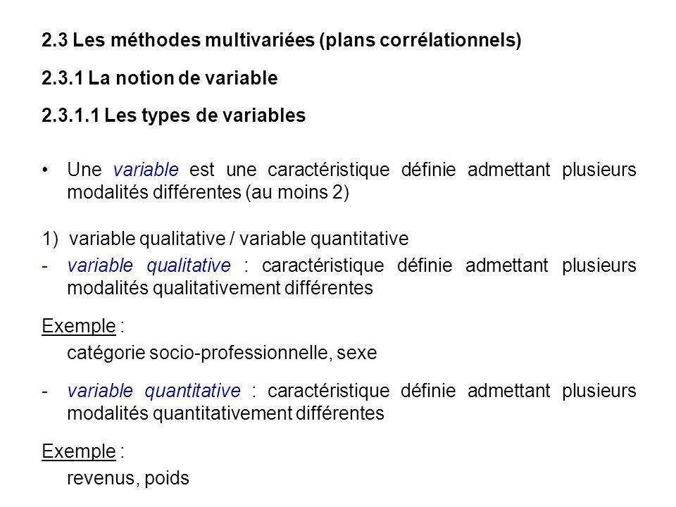 2.3 Les méthodes multivariées (plans corrélationnels) 2.3.1 La notion de variable 2.3.1.1 Les types de variables Une variable est une caractéristique