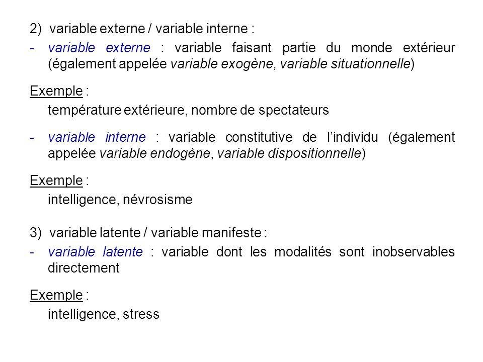 2) variable externe / variable interne : variable externe : variable faisant partie du monde extérieur (également appelée variable exogène, variable
