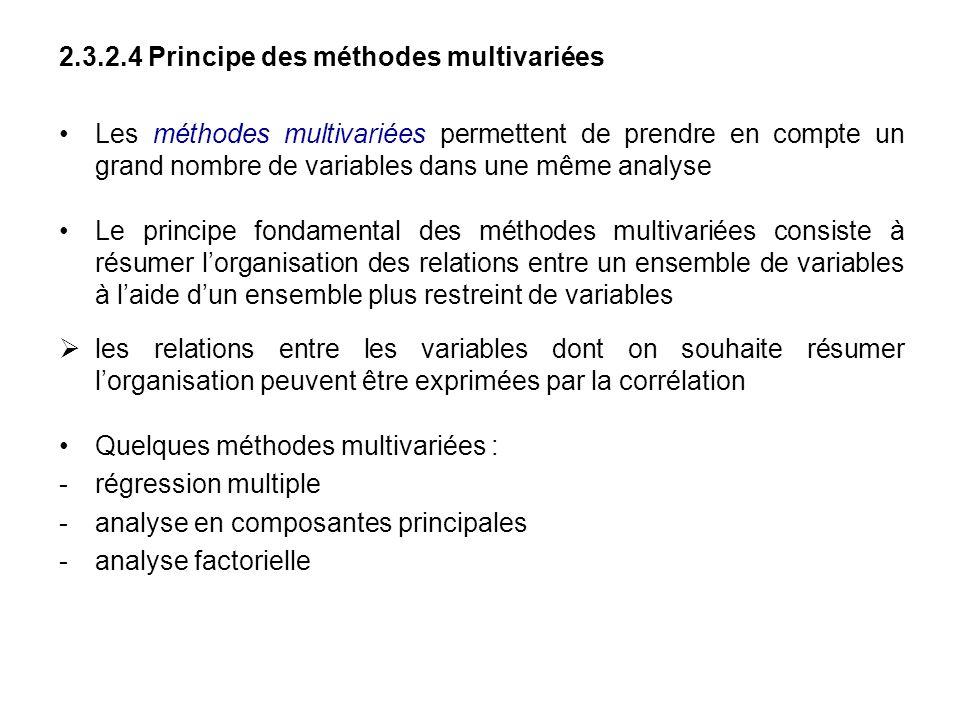 2.3.2.4 Principe des méthodes multivariées Les méthodes multivariées permettent de prendre en compte un grand nombre de variables dans une même analys