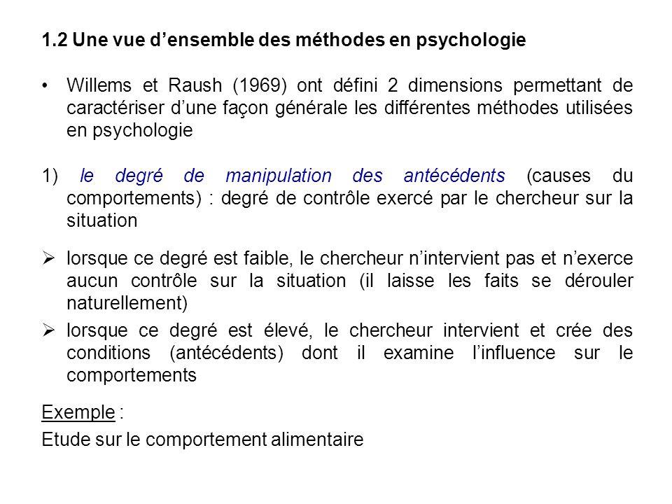 1.2 Une vue densemble des méthodes en psychologie Willems et Raush (1969) ont défini 2 dimensions permettant de caractériser dune façon générale les d