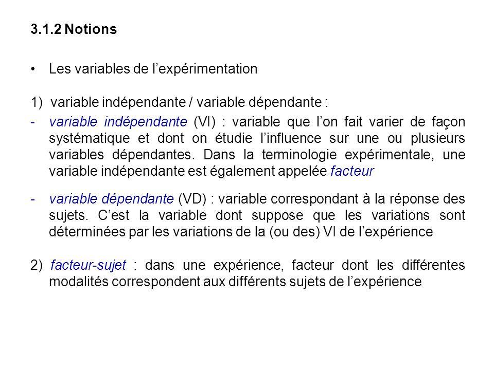 3.1.2 Notions Les variables de lexpérimentation 1) variable indépendante / variable dépendante : variable indépendante (VI) : variable que lon fait v