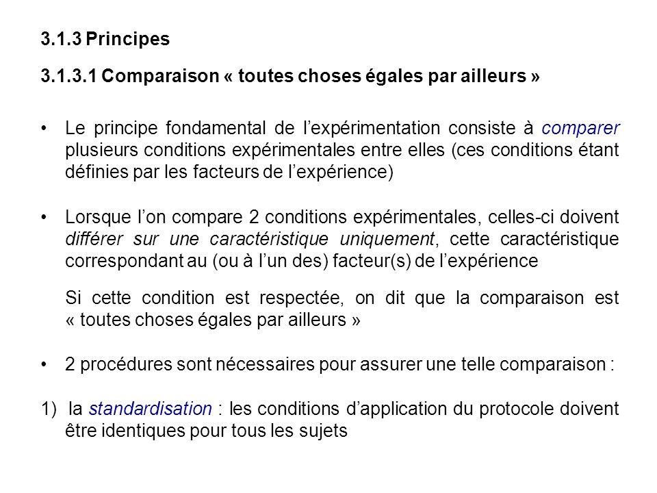 3.1.3 Principes 3.1.3.1 Comparaison « toutes choses égales par ailleurs » Le principe fondamental de lexpérimentation consiste à comparer plusieurs co