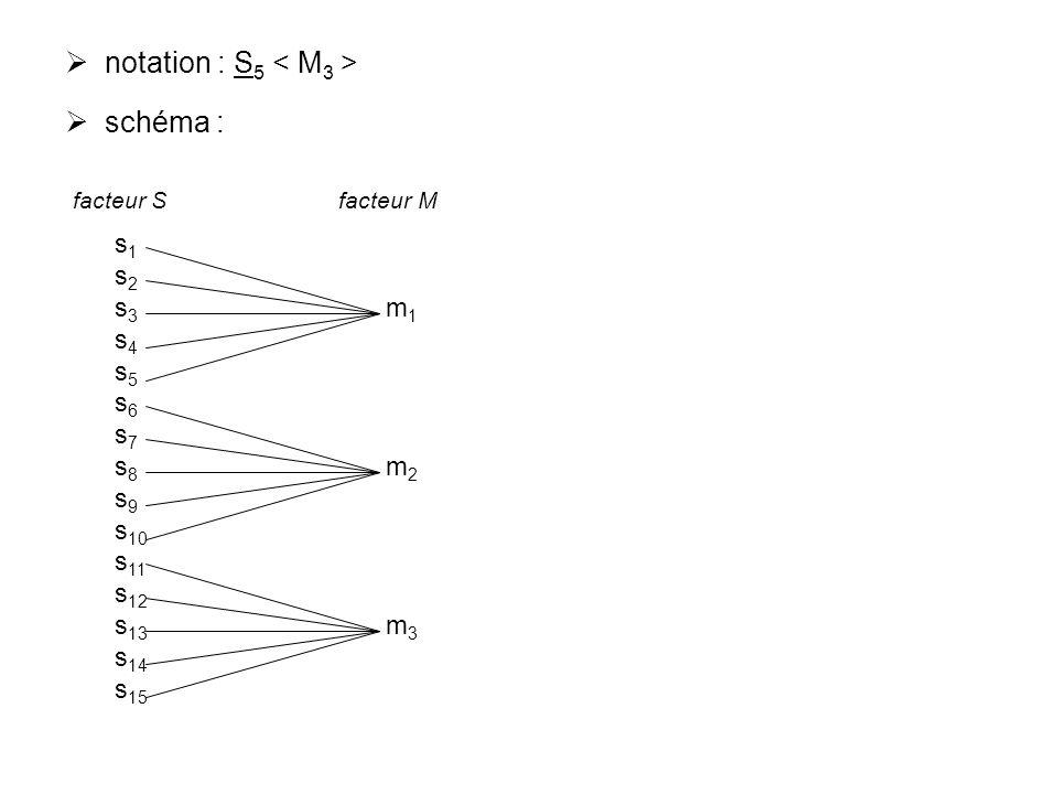 notation : S 5 schéma : s 1 s 2 s 3 m 1 s 4 s 5 s 6 s 7 s 8 m 2 s 9 s 10 s 11 s 12 s 13 m 3 s 14 s 15 facteur S facteur M