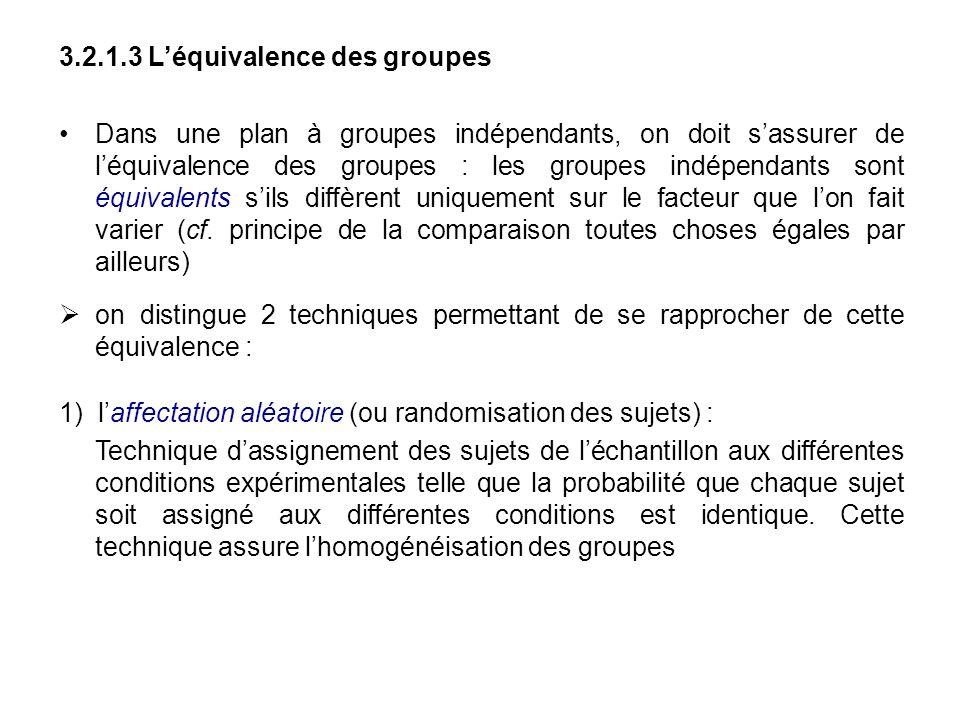 3.2.1.3 Léquivalence des groupes Dans une plan à groupes indépendants, on doit sassurer de léquivalence des groupes : les groupes indépendants sont éq