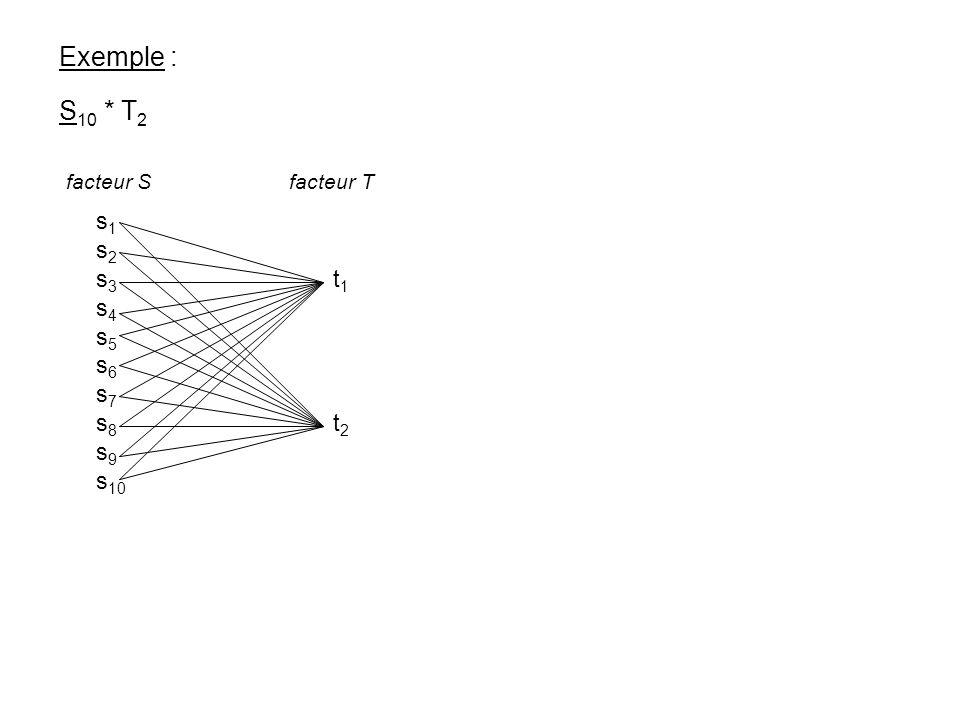 Exemple : S 10 * T 2 s 1 s 2 s 3 t 1 s 4 s 5 s 6 s 7 s 8 t 2 s 9 s 10 facteur S facteur T