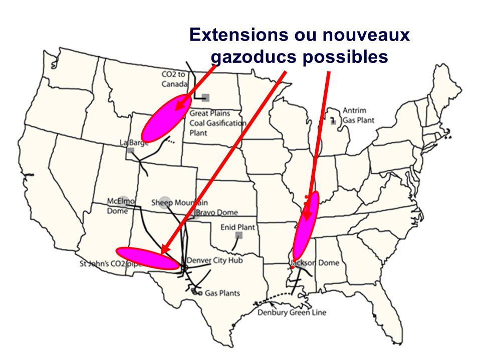 Un reseau de gazoducs Extensions ou nouveaux gazoducs possibles