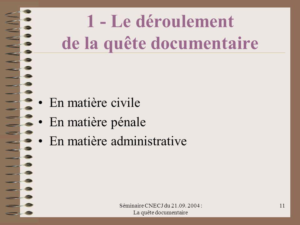 Séminaire CNECJ du 21.09. 2004 : La quête documentaire 11 1 - Le déroulement de la quête documentaire En matière civile En matière pénale En matière a