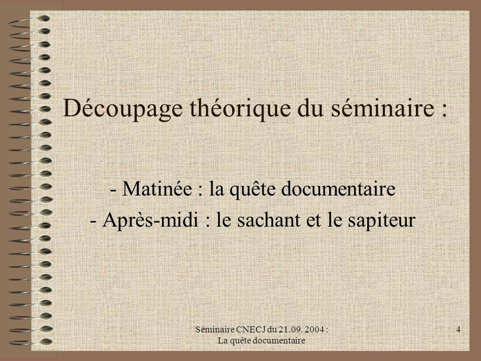 Séminaire CNECJ du 21.09. 2004 : La quête documentaire 4 Découpage théorique du séminaire : - Matinée : la quête documentaire - Après-midi : le sachan