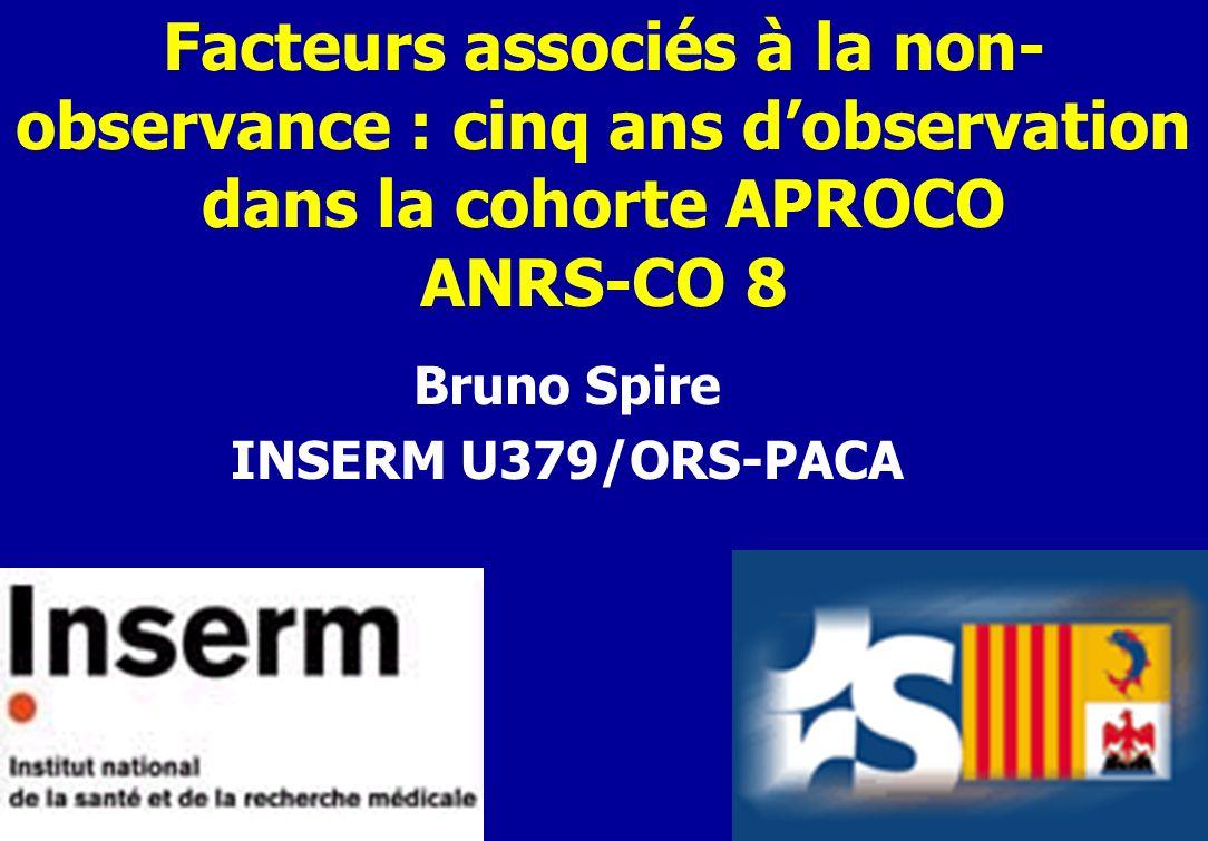 Facteurs associés à la non- observance : cinq ans dobservation dans la cohorte APROCO ANRS-CO 8 Bruno Spire INSERM U379/ORS-PACA