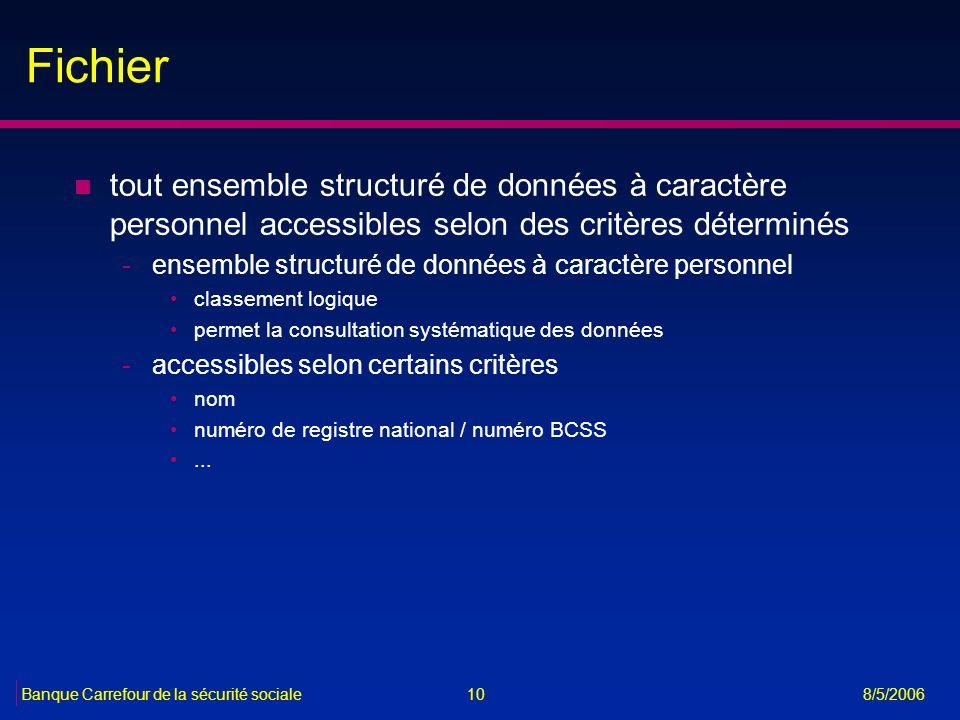 10Banque Carrefour de la sécurité sociale 8/5/2006 Fichier n tout ensemble structuré de données à caractère personnel accessibles selon des critères d