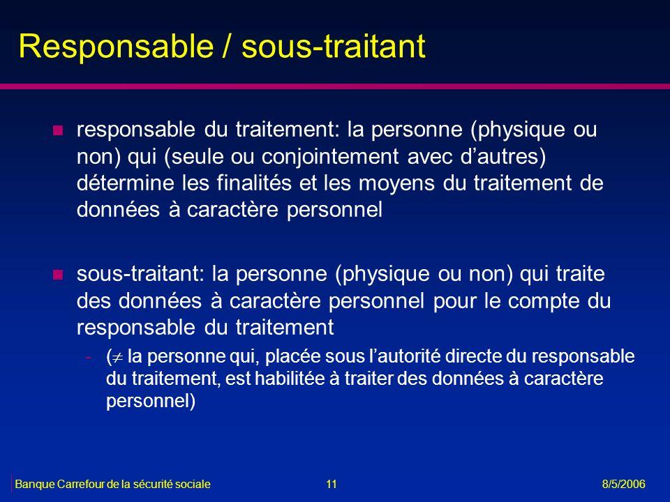 11Banque Carrefour de la sécurité sociale 8/5/2006 Responsable / sous-traitant n responsable du traitement: la personne (physique ou non) qui (seule o