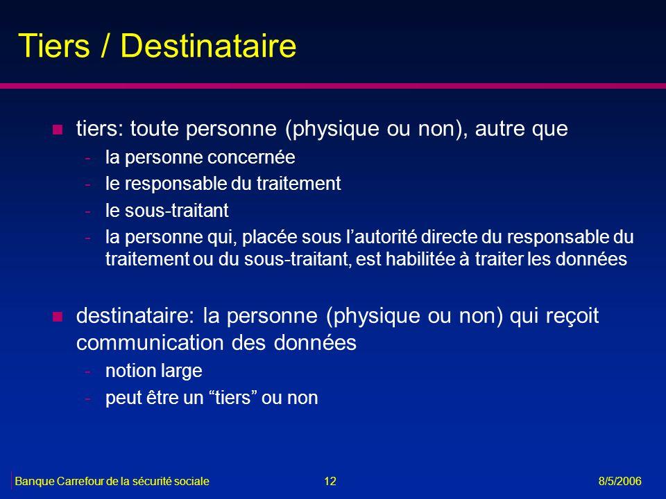12Banque Carrefour de la sécurité sociale 8/5/2006 Tiers / Destinataire n tiers: toute personne (physique ou non), autre que -la personne concernée -l