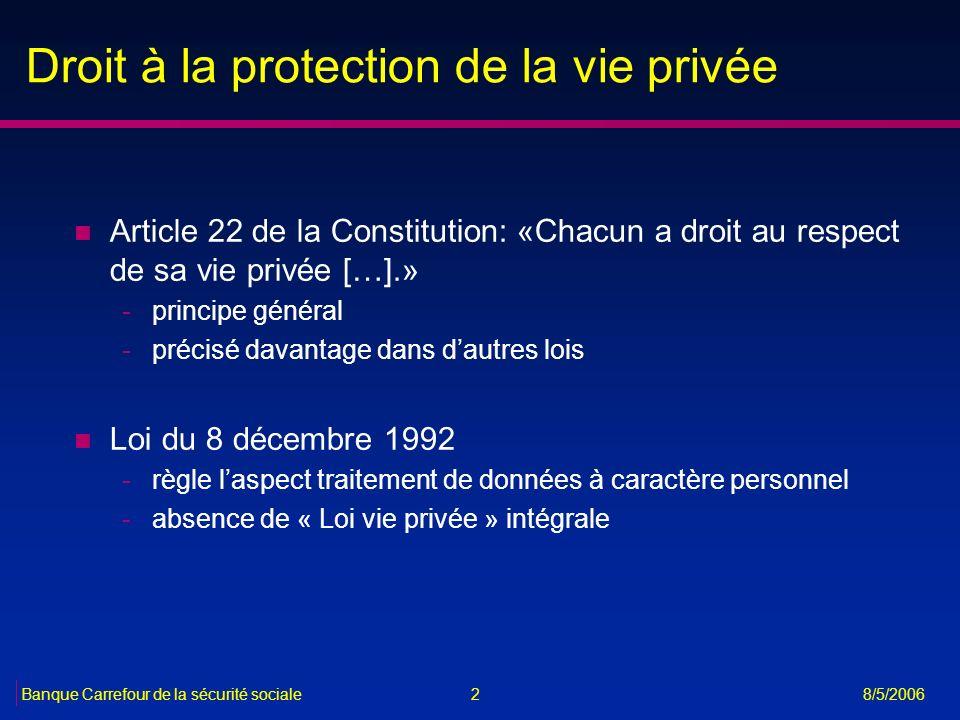 2 8/5/2006 Droit à la protection de la vie privée n Article 22 de la Constitution: «Chacun a droit au respect de sa vie privée […].» -principe général
