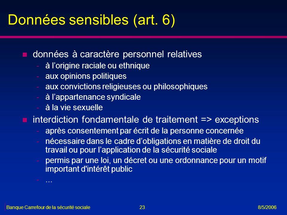 23Banque Carrefour de la sécurité sociale 8/5/2006 Données sensibles (art. 6) n données à caractère personnel relatives -à lorigine raciale ou ethniqu