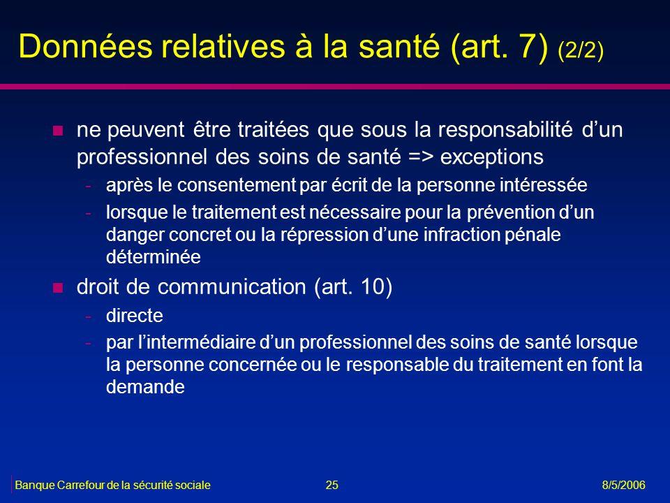 25Banque Carrefour de la sécurité sociale 8/5/2006 Données relatives à la santé (art. 7) (2/2) n ne peuvent être traitées que sous la responsabilité d