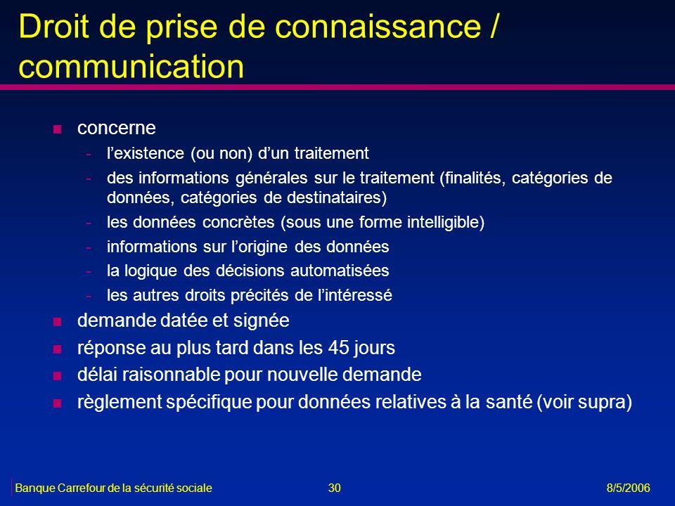 30Banque Carrefour de la sécurité sociale 8/5/2006 Droit de prise de connaissance / communication n concerne -lexistence (ou non) dun traitement -des
