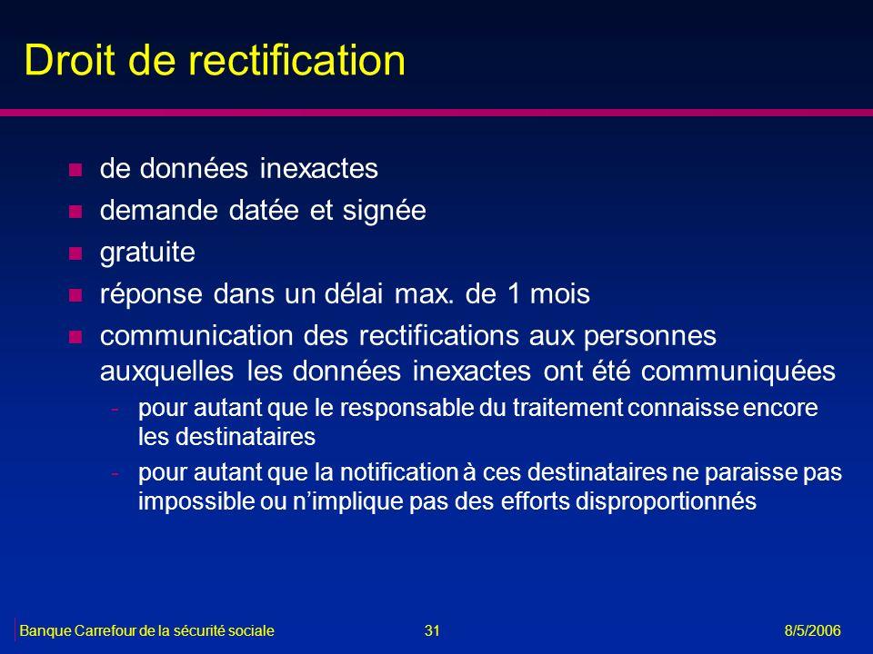 31Banque Carrefour de la sécurité sociale 8/5/2006 Droit de rectification n de données inexactes n demande datée et signée n gratuite n réponse dans u