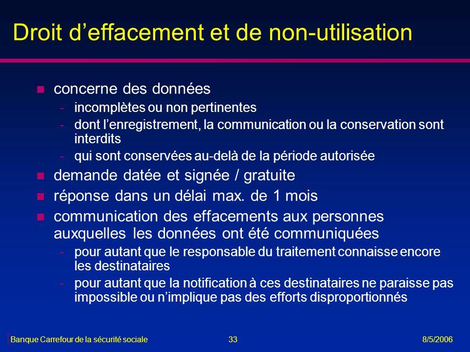 33Banque Carrefour de la sécurité sociale 8/5/2006 Droit deffacement et de non-utilisation n concerne des données -incomplètes ou non pertinentes -don